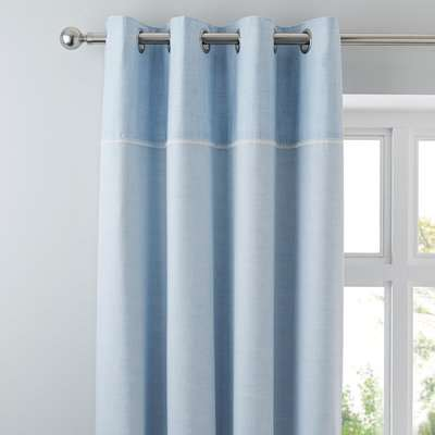 Millie Blue Thermal Eyelet Curtains Blue