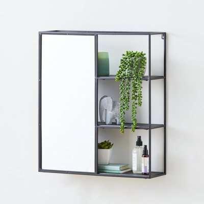 Mirrored Black Metal Shelf Black