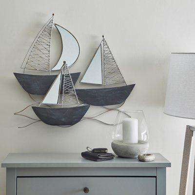 Mirrored Boats Wall Art Grey