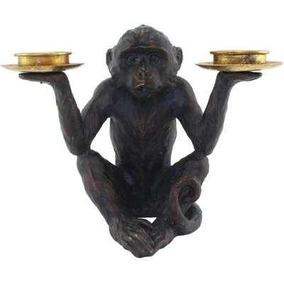 Monkey Tealight Holder Bronze