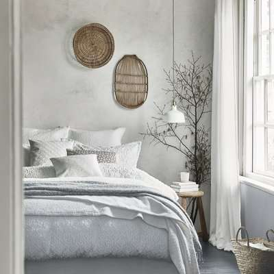 Murmur Nara Circle Jacquard White 100% Cotton Percale Duvet Cover White