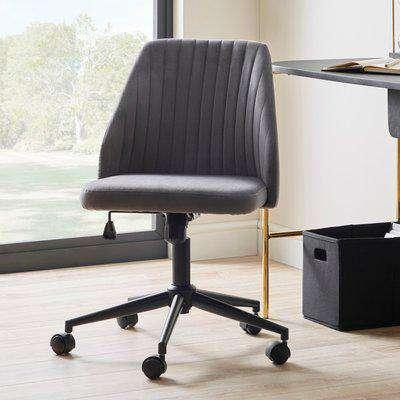 Mya Velvet Office Chair Grey