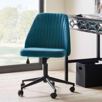 Mya Velvet Office Chair Green