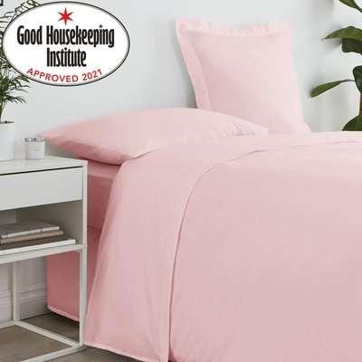 Non Iron Plain Dye Dusky Pink Valance Light Pink / Baby Pink