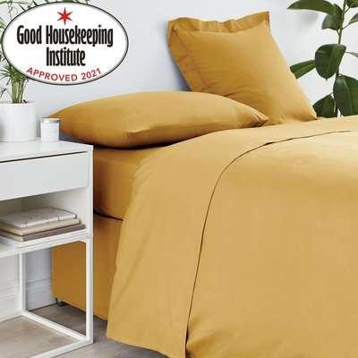 Non Iron Plain Dye Mustard Duvet Cover Yellow