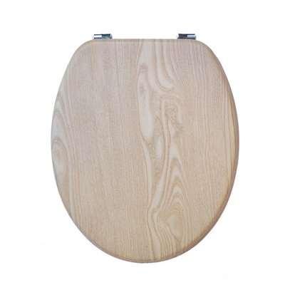 Oak Effect MDF Toilet Seat Brown