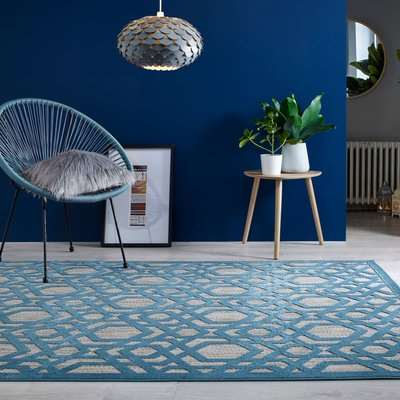 Oro Geometric Indoor Outdoor Rug Beige and Blue
