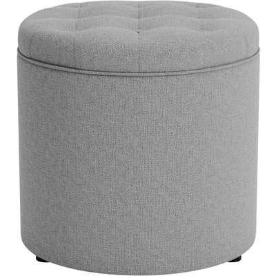 Oswald Faux Wool Round Storage Footstool Grey