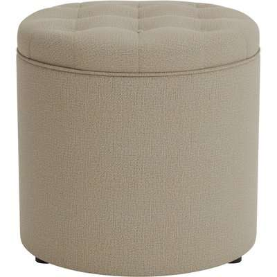 Oswald Faux Wool Round Storage Footstool Natural