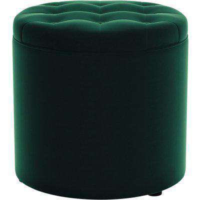 Oswald Velvet Round Storage Footstool Bottle (Green)