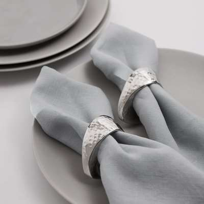 Oval Silver Napkin Ring Set of 2 Silver