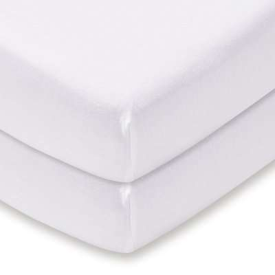 Pack of 2 White 100% Cotton Jersey Cot Bed Fitted Sheets White