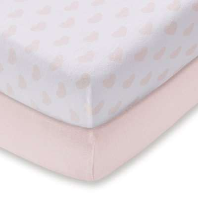 Pack of 2 Pink Heart 100% Cotton Jersey Cot Bed Fitted Sheets Pink