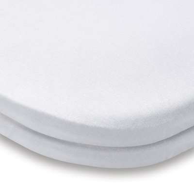 Pack of 2 White 100% Cotton Jersey Travel Cot Fitted Sheets White