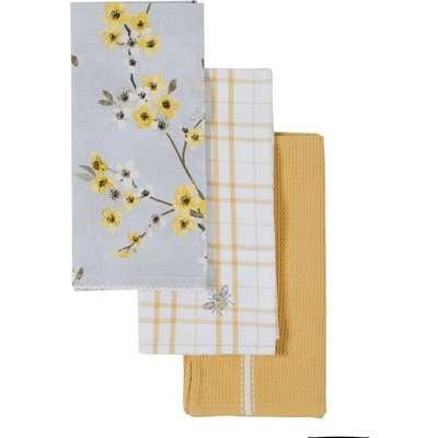 Pack of 3 Alisha Tea Towels Yellow, Grey and White