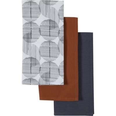 Pack of 3 Elements Runda Tea Towels White, Black, Brown and Navy Blue