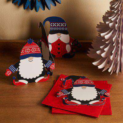 Pack of 4 Nordic Nomad Gnome Concertina Christmas Cards Red/White/Blue