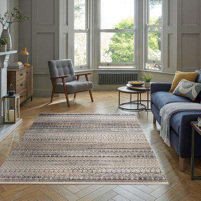 Parker Rug Brown and White
