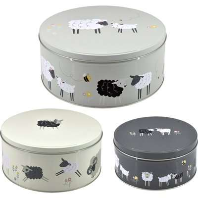 Penny the Sheep Cake Tins Set of 3 Grey, Yellow and White