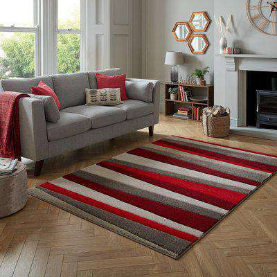 Pico Stripe Rug Red and Brown