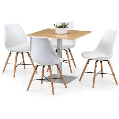 Pisa Oak Dining Table with 4 Kari Chairs White