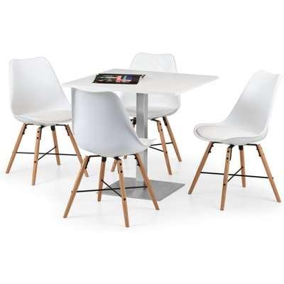 Pisa White Dining Table with 4 Kari Chairs White
