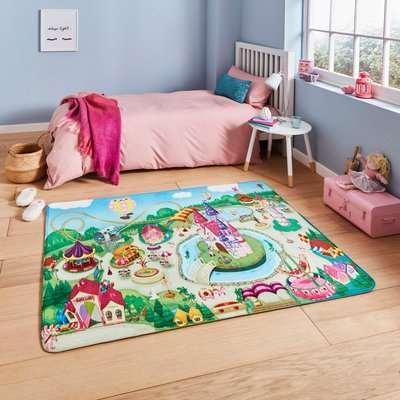 Princess Playground Rug Blue, Green and Pink