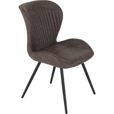 Quebec Set of 4 Dining Chairs Brown PU Leather Brown