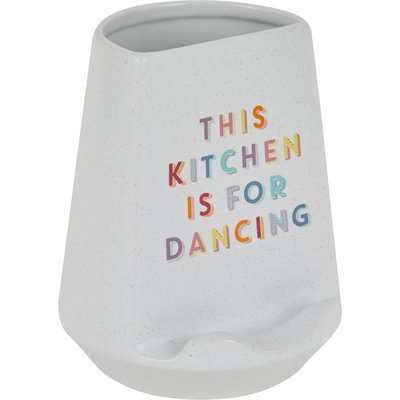 Rainbow Ceramic Tablet Stand Utensil Pot White, Yellow and Red