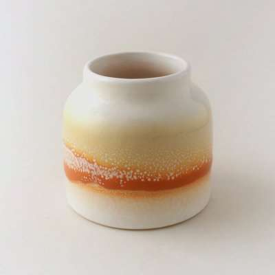 Reactive Red Glaze Pepper and Ginger Scented Candle Red, Yellow and White