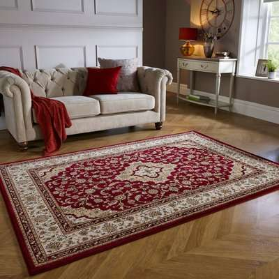 Antalya Traditional Rug Red, Yellow and Black