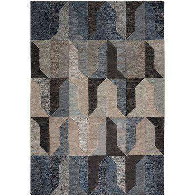 Regent Navy Wool Rug Navy Blue, Brown and Grey