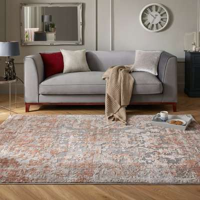 Reign Rust Traditional Rug Brown and Grey