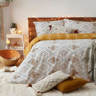 Furn. Riva Atlas Ochre 100% Brushed Cotton Duvet Cover and Pillowcase Set Yellow, Green and White
