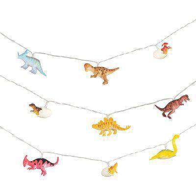 Roar Dinosaur String Lights Blue, Yellow and Pink