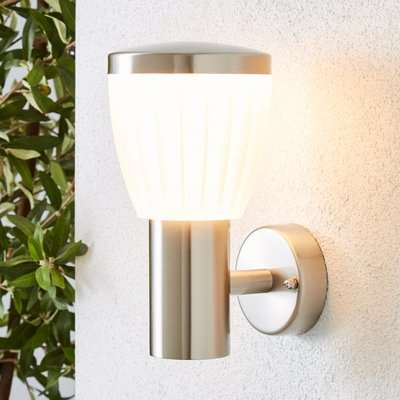 Rover LED Frosted Shade Steel Outdoor Wall Light Silver