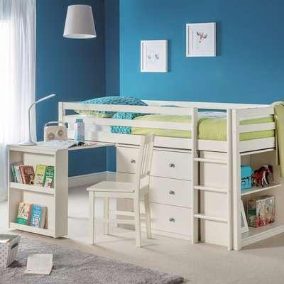 Roxy Single White Midsleeper Bed White