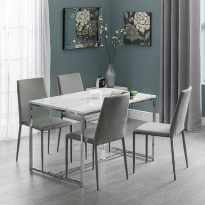 Scala Dining Table & 4 Jazz Grey Chairs Silver