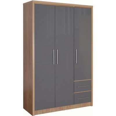Seville 3 Door 2 Drawer Wardrobe Grey and Brown