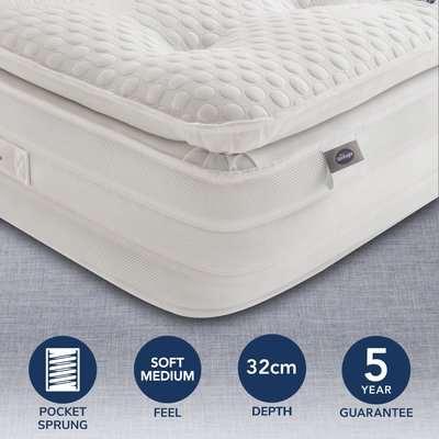 Silentnight Soft Medium 2000 Pocket Geltex Pillowtop Mattress White