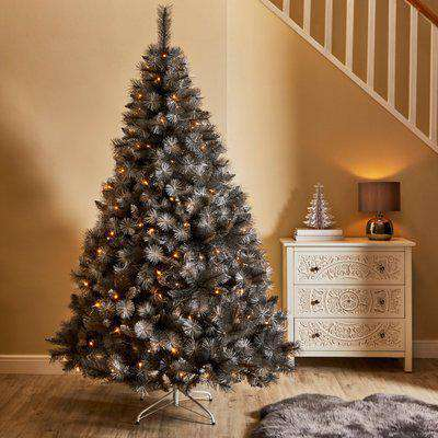 7ft Grey and Silver Christmas Tree Grey