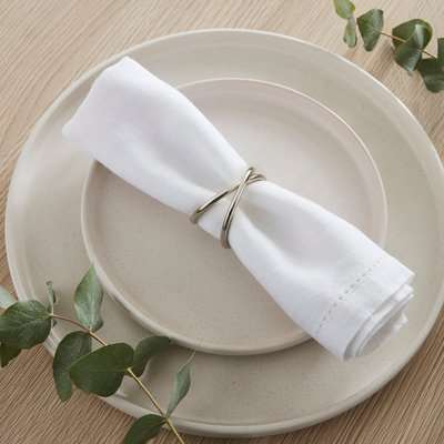 Silver Cross Over Napkin Ring Set of 2 Silver