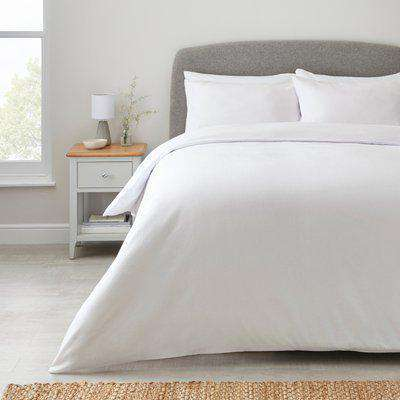 Simply Brushed Cotton Duvet Cover and Pillowcase Set White