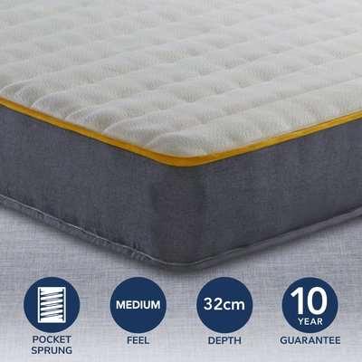 Sleepsoul Medium Firm Comfort 800 Pocket Memory Mattress Dark Blue