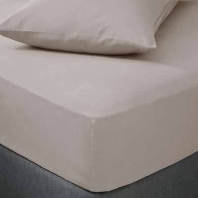 Soft & Cosy Luxury Brushed Cotton Natural Duvet Cover and Pillowcase Set Brown