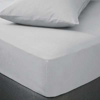 Soft & Cosy Luxury Brushed Cotton Silver Duvet Cover and Pillowcase Set Silver