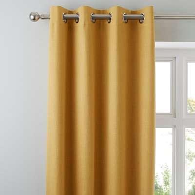 Solar Mustard Blackout Eyelet Curtains Yellow