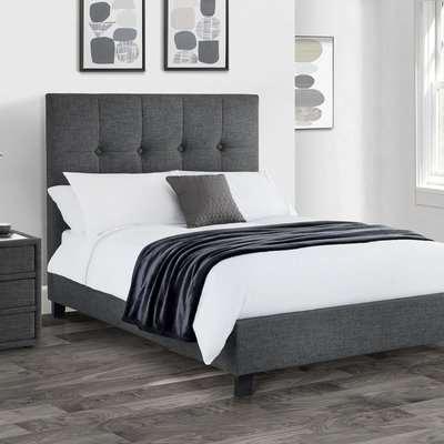 Sorrento Slate Grey Upholstered Bed Frame Grey