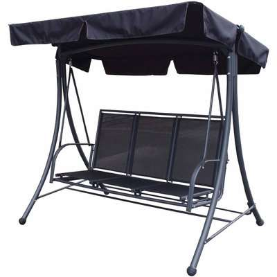 Sorrento 3 Seater Black Swing Seat Black