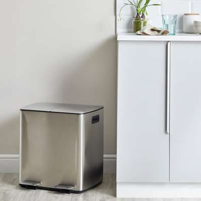 Stainless Steel 40L Curve Recycling Bin Silver